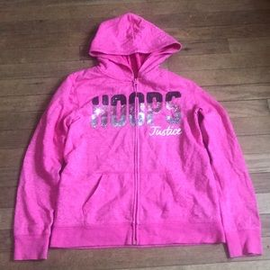 Justice Zip Up Hooded Hoops Sweater Size 12/14